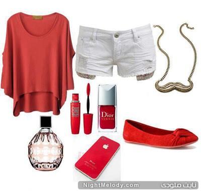ست لباس صورتی و قرمز