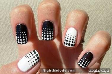طراحی ناخن سیاه و سفید