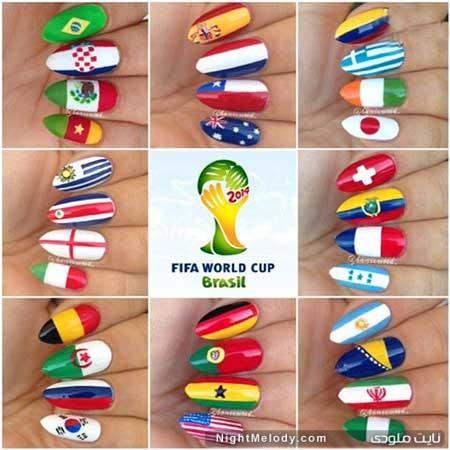 طراحی ناخن به سبک جام جهانی 2014