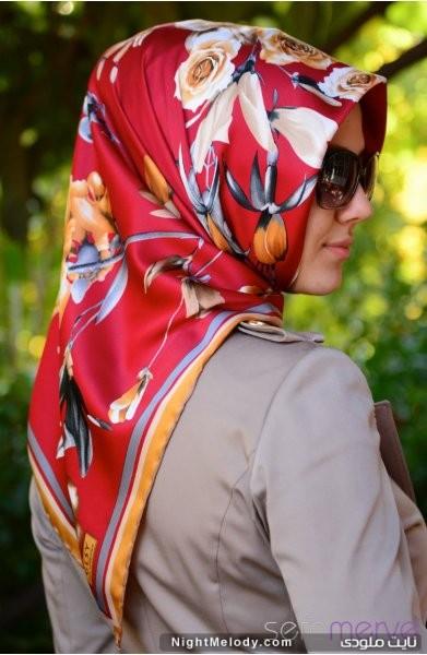 تصاویر جدید دستمال زنانه طرح گلدار