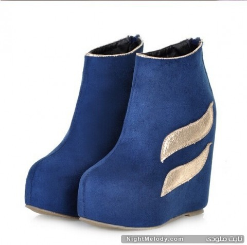 2014-Free-Shipping-Women-s-Stylish-Color-Block-Wedge-High-Heel-Boots-Black-Blue-Khaki-Sent