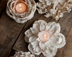 تکنیک درست کردن جاشمعی با گلهای مصنوعی