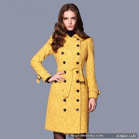جدیدترین مدل پالتو زنانه رنگ زرد