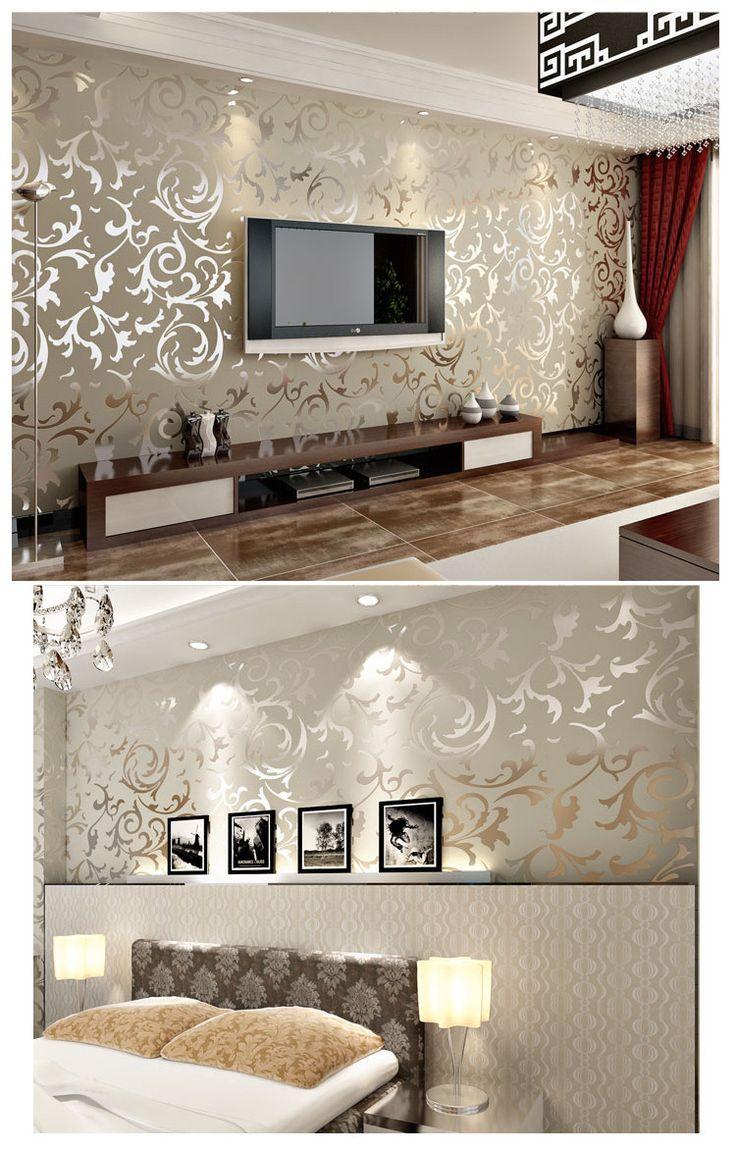 93 for Gold wallpaper living room ideas