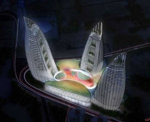 برج های شعله در باکوی آذربایجان