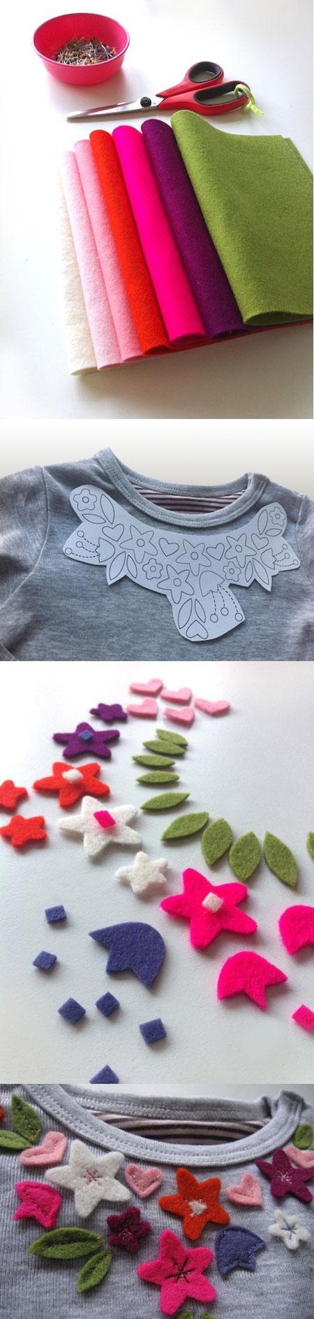 تزئین بلوز ساده با گلهای نمدی (فوتری)