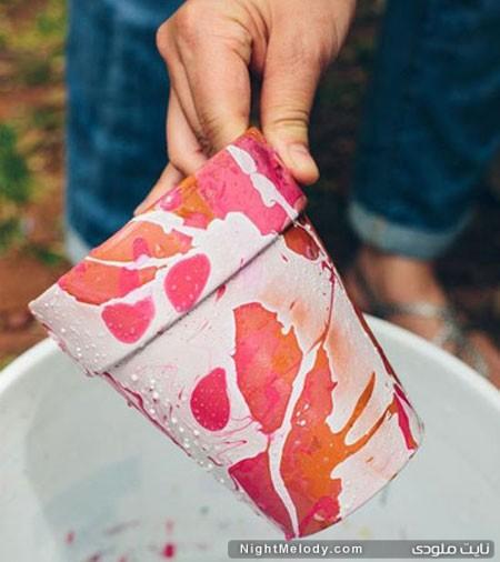 تزیین و رنگ کردن گلدان با لاک ناخن