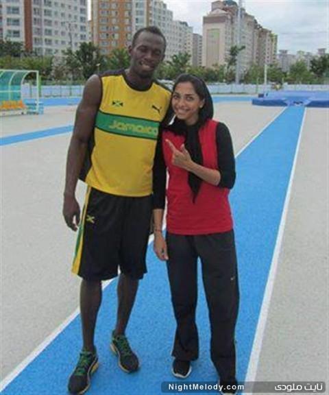 سریع ترین دختر ایران به همراه سریع ترین مرد جهان